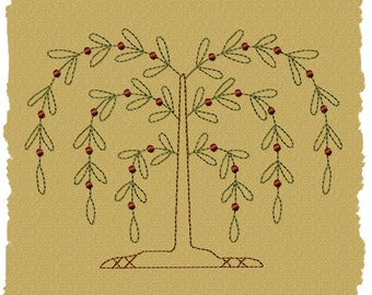 MACHINE EMBROIDERY-Willow Tree--5x7-Colorwork-Instant Download