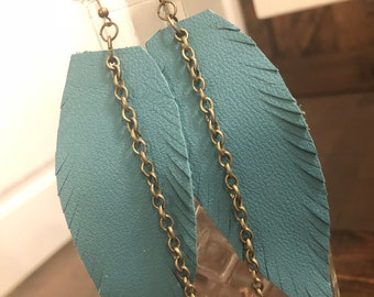 Turquoise single feather drops with bronze chain
