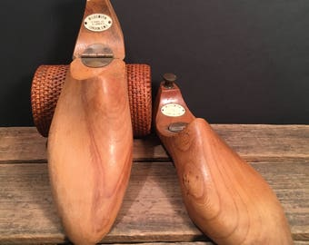RARE Handcarved English Shoe Trees from Wildsmith of London, Savile Row, c. 1948