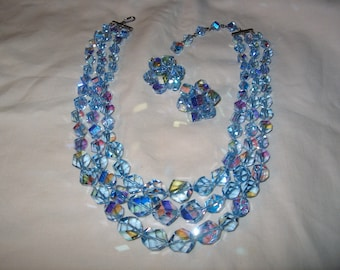 Vintage Costume Jewelry Crystal Glass Necklace , Blue, 3 - Strand, Clipback Earrings, Iridescent