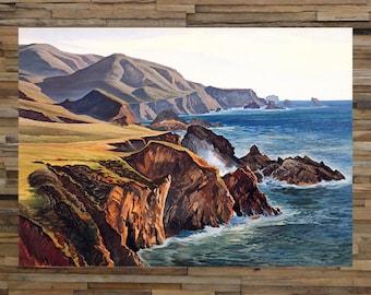 Big Sur California Vintage Painting/Art, California Coastal Art, Beach Art, Vintage Art, Giclee Art Print, fine Art Reproduction