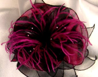 Flower brooch made of fabric, organza, feathers and pearls 206