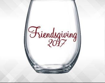 Friendsgiving Decal - Fancy Version - Thanksgiving decals - Holiday Vinyl Sticker for wine glasses, tumblers, etc DECAL only