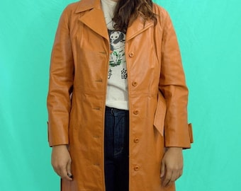25% OFF 70s Leather Queen Coat L