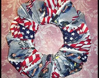 Patriotic Hair Scrunchie, Holiday Hair Tie, Ponytail Holder, 9/11 Commemorative Stamp