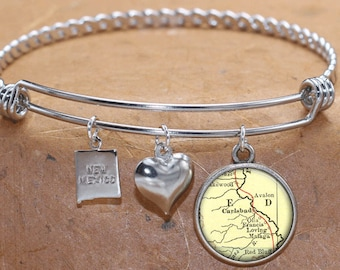 Carlsbad New Mexico Map Charm Bracelet State of NM Bangle Cuff Bracelet Vintage Map Jewelry Stainless Steel Bracelet Gifts For Her