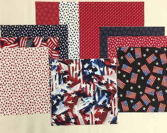 "Red White and Blue Patriotic  Layer Cake Fabric   40 - 10"" Squares P-1"