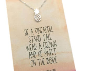 Pineapple Necklace, gold or silver pineapple, Be a Pineapple, stand tall, wear a crown, be sweet, choose carded with message or in  gift box