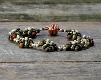 Earthy Beaded Bracelet, Seed Bead Bracelet, Boho Bracelet, Bead-weaving Bracelet