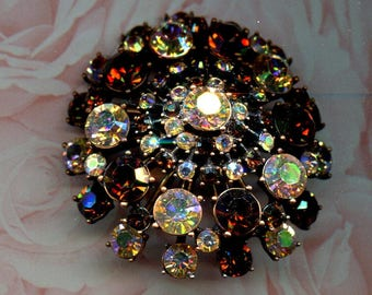Vintage Pin/Brooch*signed JOAN RIVERS*large rich AUTUMN colors       (011)