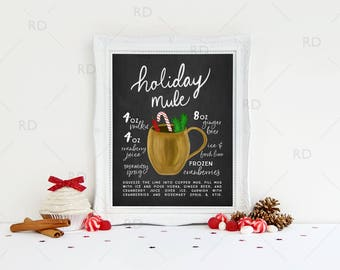 Holiday Mule HOLIDAY Cocktail with Recipes - PRINTABLE Wall Art / Holiday Drinks Recipe Chalkboard / Moscow Mule Recipe / Christmas Wall Art