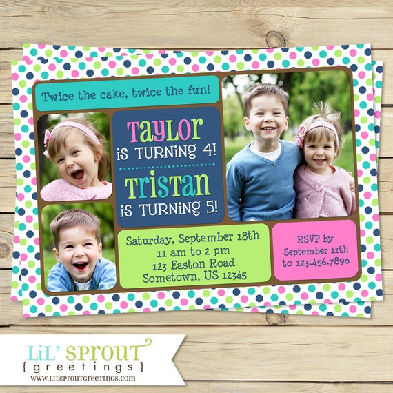 Twin Joint or Sibling Photo Birthday Invitation You Print