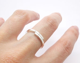 Simple silver stacking ring, silver dainty ring, elegant silver stack ring, present for her