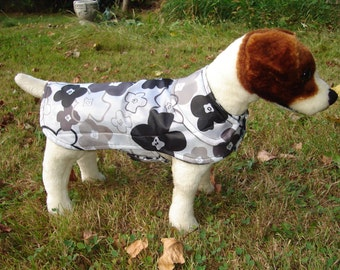 Dog Jacket - Black and White Floral Raincoat - Size Small 12-14 Inch Back Length