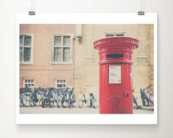 red letter box photograph bicycle photograph Cambridge photograph English decor England photograph travel photography