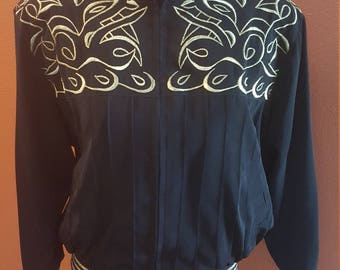 Dramatic Black and Gold Vintage Jacket by Monaliza High Fashion