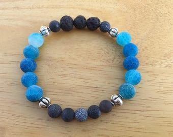 Blue Agate, Black Agate, Lava Stone & Silver Accented Oil Infusion Stretch Bracelet