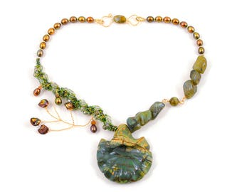 Ginkgo Necklace in Carved Jasper with Labradorite and Pearls in 14K Gold Filled; Handcrafted Natural Stone Jewelry, Asymmetric Necklace
