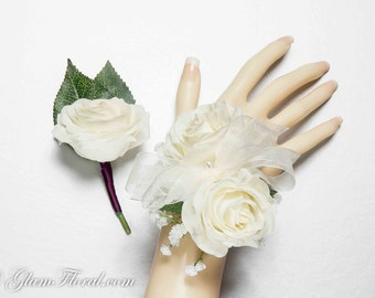 Petite Rose Wrist Corsage & Boutonniere Set . Real Touch Flowers. Cream White /Ivory Coral Peach Pink Red Fuchsia Hot Pink Royal Blue Purple