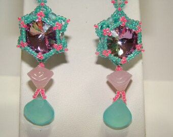 Pink And Teal Bliss Beaded Chalcedony Drop Earrings