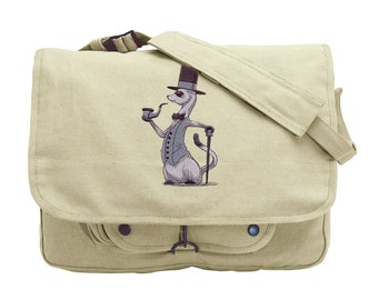 Ferret Messenger Bag, Ferret Canvas Bag, Foppish Ferret Embroidered Canvas Messenger Bag