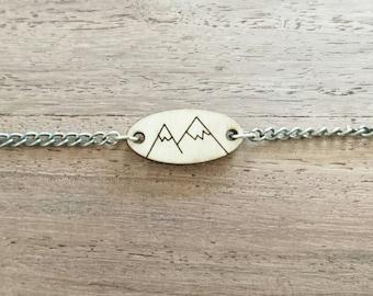 Wooden Lasercut Mountains Bracelet, Hiking, Travelling, Nature, Outdoors