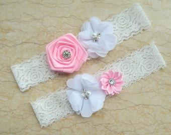 Wedding garter ,white pink Garter set,wedding garters ,bridal garter, Crystal Rhinestone,lace garter,vintage lace WD10