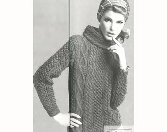 Vintage Knitting Pattern Funnel Neck Aran Sweater Women's Fisherman Pullover Cosy Oversize Cables PDF Download SKU 53-6