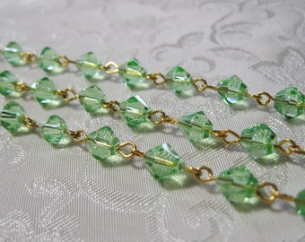"""One Meter 39.5"""" Faceted Peridot Green Bicone Glass 6mm Beaded Rosary Chain Gold 982"""