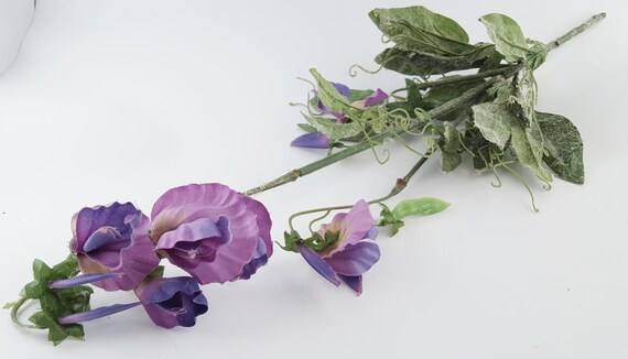 Purple sweet pea artificial silk flower stem wreath flowers purple sweet pea artificial silk flower stem wreath flowers millinery wedding crafts flower arrangement the blue hutch from thebluehutch on mightylinksfo