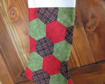 Quilted Christmas Stocking , Plaid Christmas Stocking, Green and Red Christmas Stocking