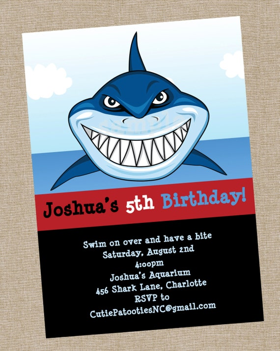 Items Similar To Shark Birthday Invitation Printable Or