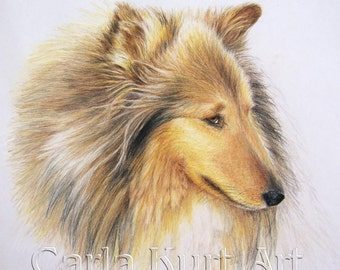Custom Pet Portrait  8 x 10 colored pencil Art by Carla Kurt
