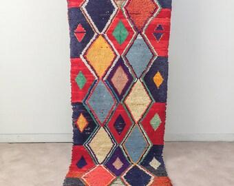 "Moroccan Boucherouite rug,""N 1"", Berber rug, Moroccan decor, Boucherouite carpet, Colorful Boucharouette,Runner rug"