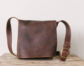 Brown leather messenger bag,  Kodiak leather bag, leather cross body bag, distressed leather cross body bag, natural leather bag, handmade