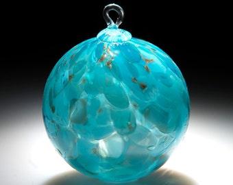 Glass Ornament. Sun catcher.  Hand blown Fine Art Glass Ornament in Teal.  Made in Seattle.  Artist Dehanna Jones.