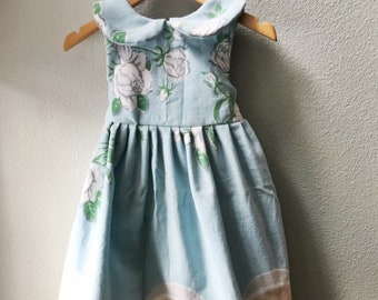 Little Girls Dress, Vintage Fabric, Vintage 1930's Tablecloth, One of a Kind, Size 5, Summer Beach Dress, Blue and Peach Print Childs Dress