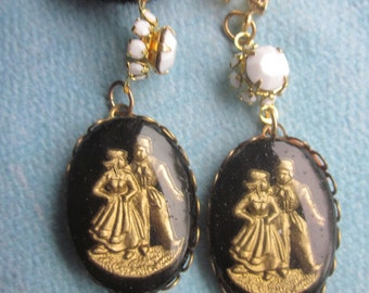 Vintage  Dancing Dutch Couple Cabochons In setting