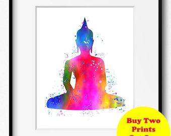 Buddha Watercolor Art Print (403) Yoga Art, Buddha Art