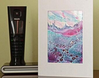 Encaustic Wax Original Art Card, Marshmallow Valley, Landscape style