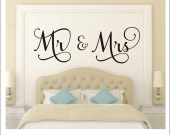 Mr and Mrs Wall Decal Mr and Mrs Vinyl Decal Couple Wall Decal Vinyl Lettering Wedding Gift Master Bedroom Wall Decal Romantic Wall Decal