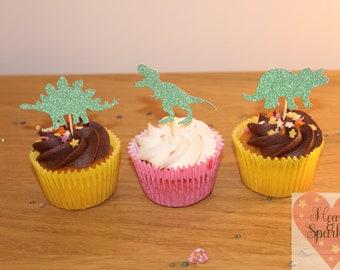 Dinosaur glitter cupcake toppers
