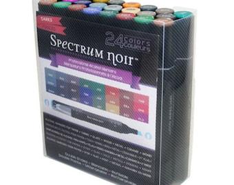 Spectrum Noir Alcohol Markers 24pk DARKS - Alcohol Markers - Spectrum Markers - Spectrum Alcohol Markers - Noir Blendable Markers - 7-070
