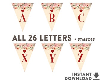 """Printable Pennant Banner (8.5x11"""" Each Letter Sheet ) Sweetheart Heart Valentine Baby Shower Decorations (INSTANT DOWNLOAD) No.805BABY"""