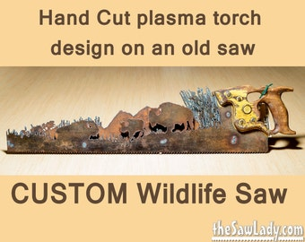CUSTOM Nature Scene Hand (plasma) cut hand saw with add-ons Metal Art | Wall Decor | Garden Art | Recycled Art | Repurposed  - Made to Order