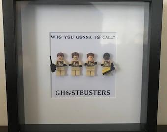 Ghostbusters Minifigure Shadowbox - Dr Egon Spengler, Dr. Raymond Stanz, Dr Peter Venkman, Winston Zeddmore
