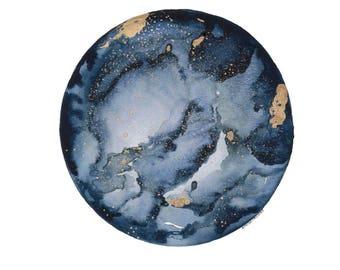 Print of Orginal Watercolor Indigo Moon
