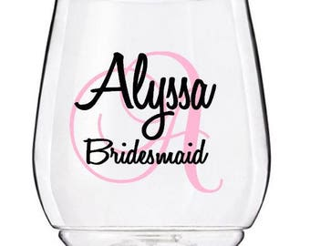 Personalized Wine Glass Decal, Monogram With Name And Title, Bridal Party Wine Glass Decals, Glasses NOT Included