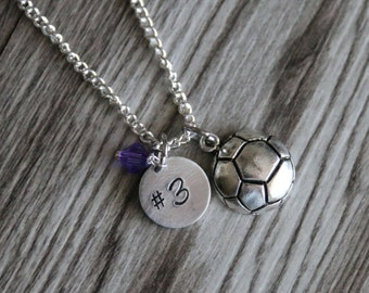 Soccer Necklace, Personalized Number and Birthstone Necklace, Soccer Girl Necklace, Sport Necklace, Girl Sport Necklace, Personalized Soccer