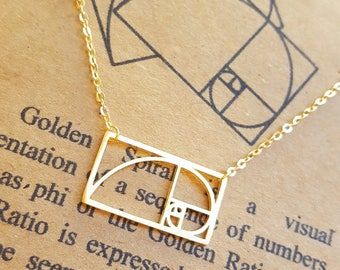 Fibonacci Necklace-925 Sterling Silver-Handcrafted Golden Ratio Necklace-Sacred Geometry-Math Gift-Graduation Gift-Teacher Gift-Science Gift